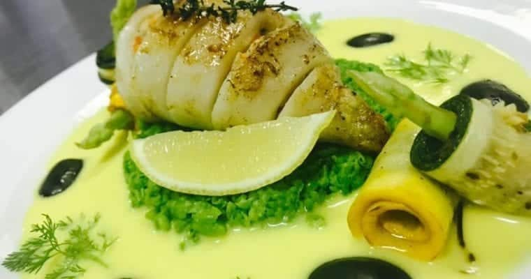 Stuffed squid with lemon butter sauce