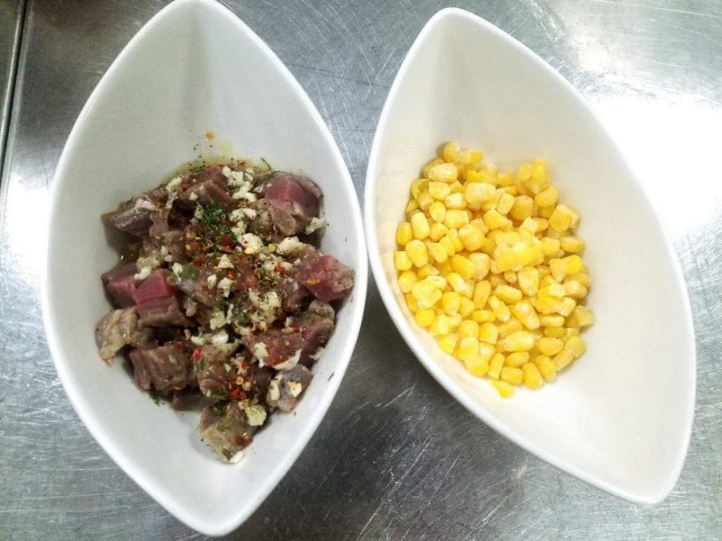 Image of corn and marinated beef