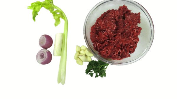 ground beef with vegetable, and herbs