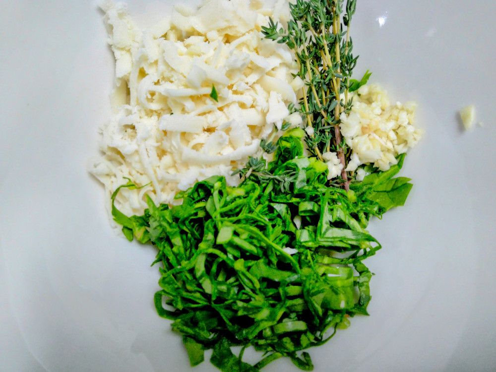 Cheese, spinach, and thyme
