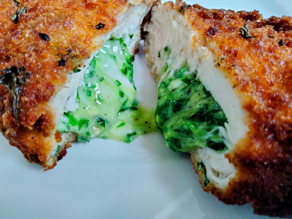 Stuffed chicken with cheese and spinach