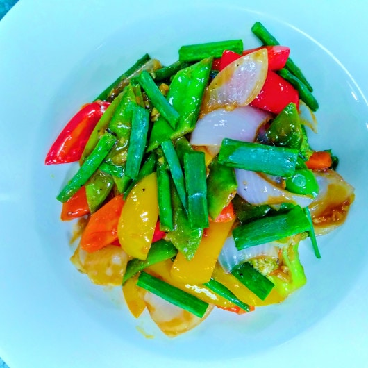 Asian vegetable for stir fry with snow peas and broccoli