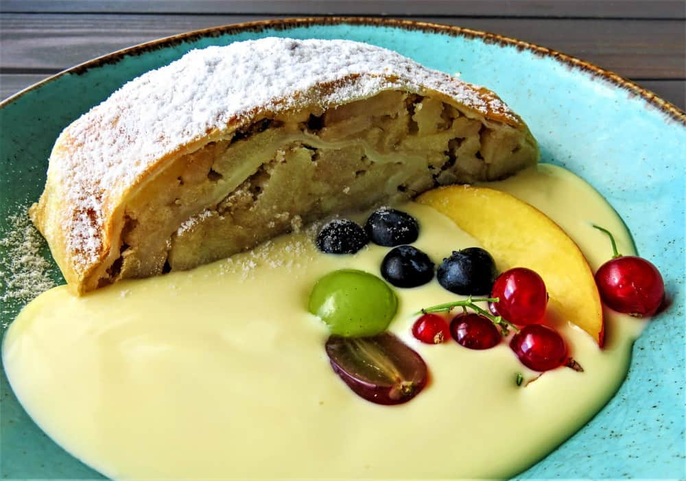 Apple strudel with fruits sauce