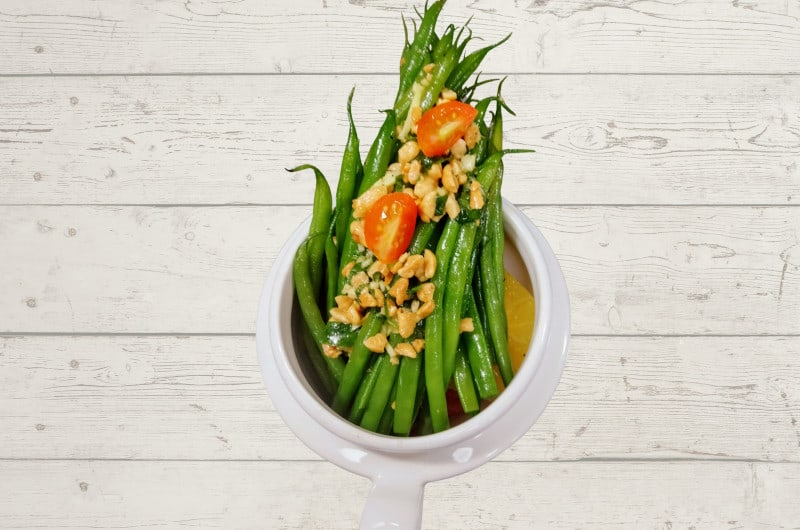 french beans with roasted honey peanut salad